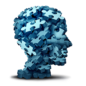 Human head made of puzzle pieces as a symbol of mental health.